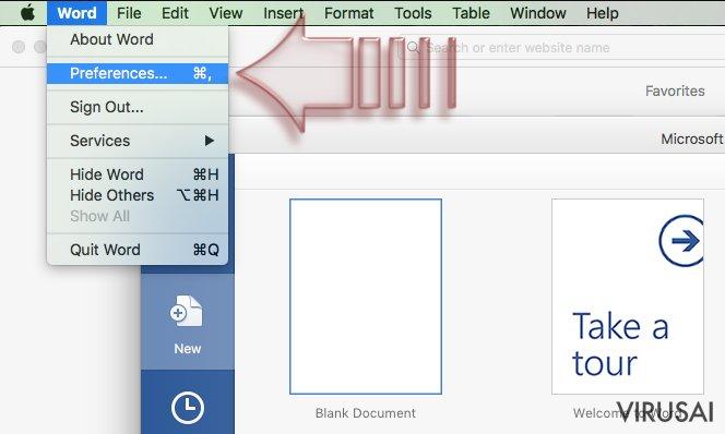 Makrokomandų išjungimas. Mac OS X. 1 žingsnis