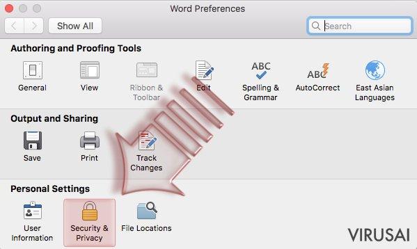 Makrokomandų išjungimas. Mac OS X. 2 žingsnis