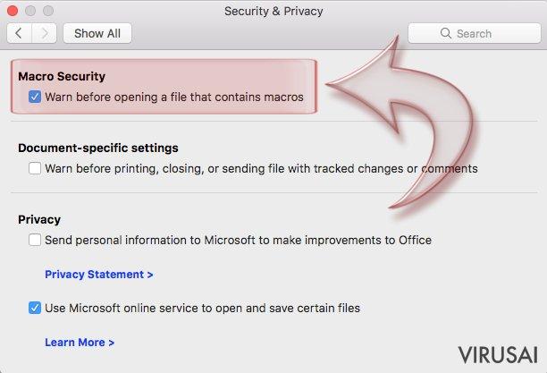 Makrokomandų išjungimas. Mac OS X. 3 žingsnis