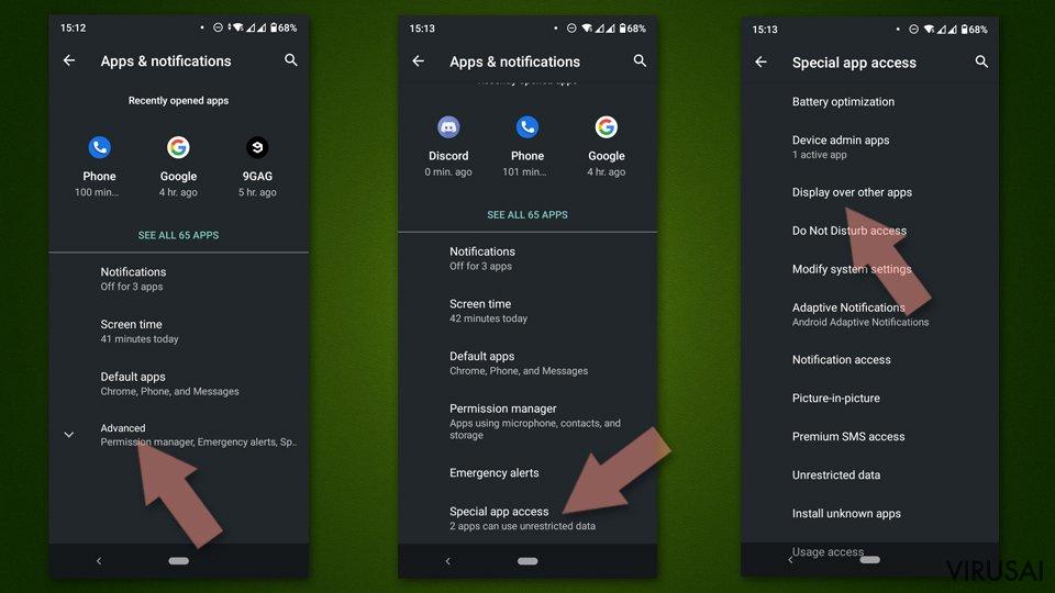 Patikrinkite, ar įtartina programa gali veikti virš kitų Android programų