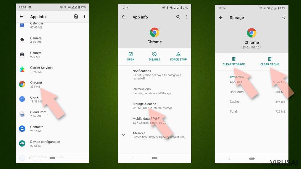 Pašalinkite Android duomenis iš Chrome