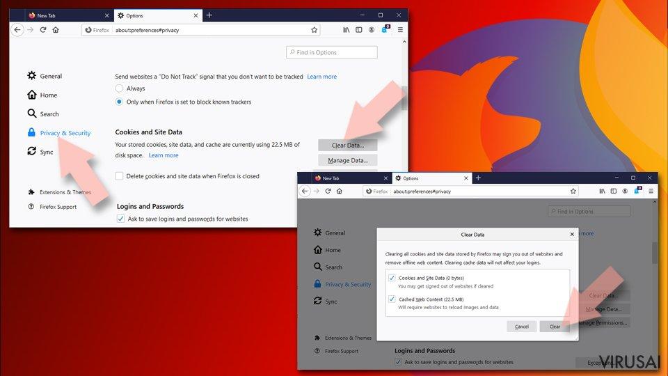 Išvalykite iš Firefox slapukus ir kitus duomenis
