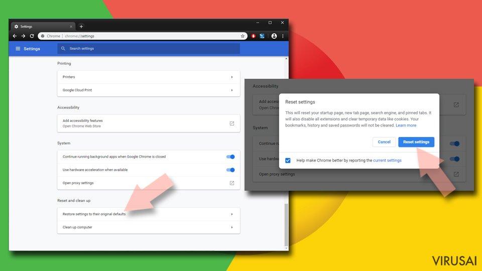 Iš naujo nustatykite Chrome 2