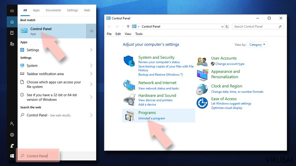 Pašalinkite iš Windows 1