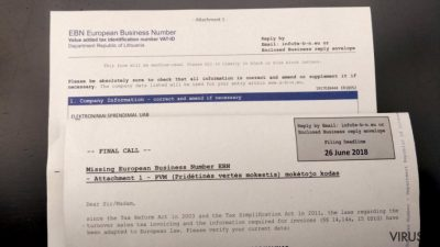 European Business Number laiškas