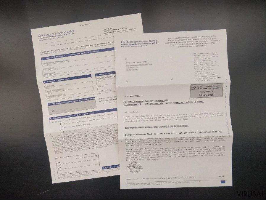 European Business Number laiško pavyzdys