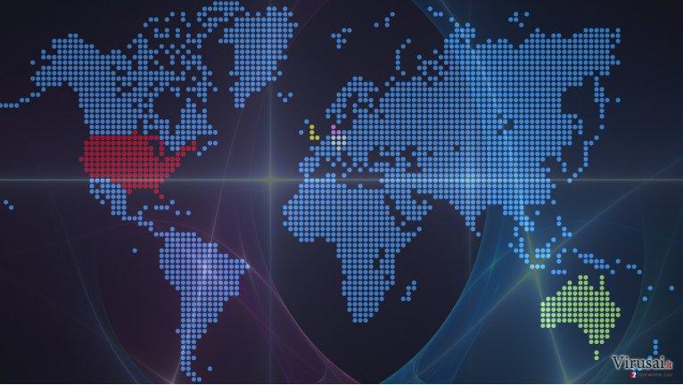 Žemėlapis, nurodantis ransomware atakų paveiktas šalis