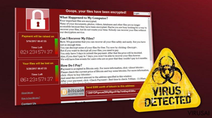 WannaCry virusas vis dar atakuoja naudotojus visame pasaulyje