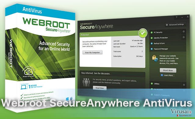 Webroot SecureAnywhere AntiVirus virusus šalinanti programa