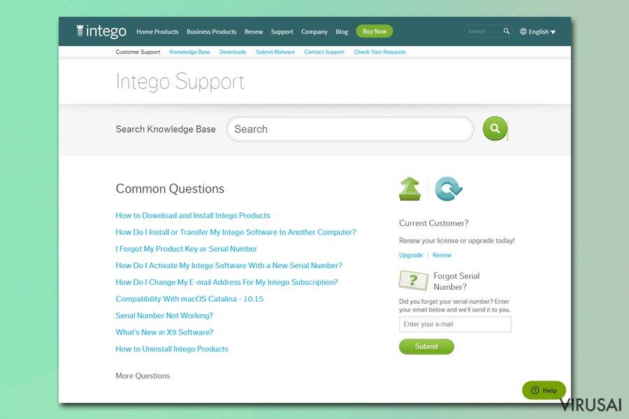 Intego techninės pagalbos puslapis
