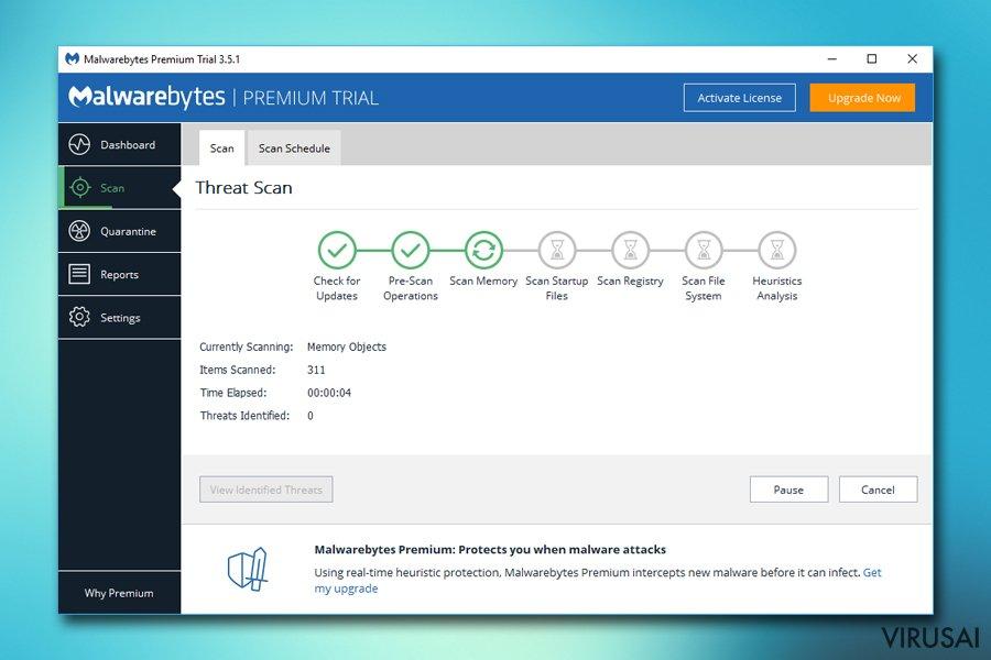 Malwarebytes atliekama virusų paieška