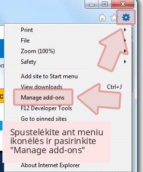 Spustelėkite ant meniu ikonėlės ir pasirinkite 'Manage add-ons'