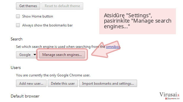 Atsidūrę 'Settings', pasirinkite 'Manage search engines...'