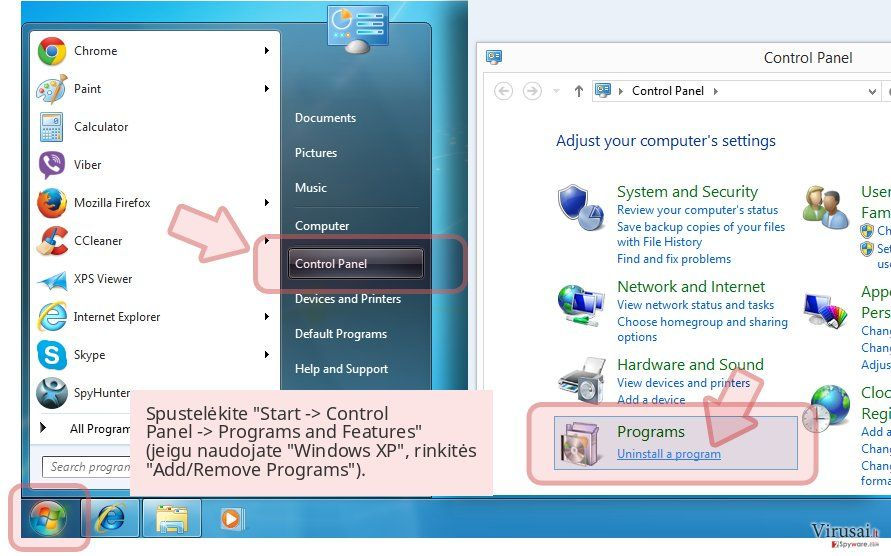 Spustelėkite 'Start -> Control Panel -> Programs and Features' (jeigu naudojate 'Windows XP', rinkitės 'Add/Remove Programs').