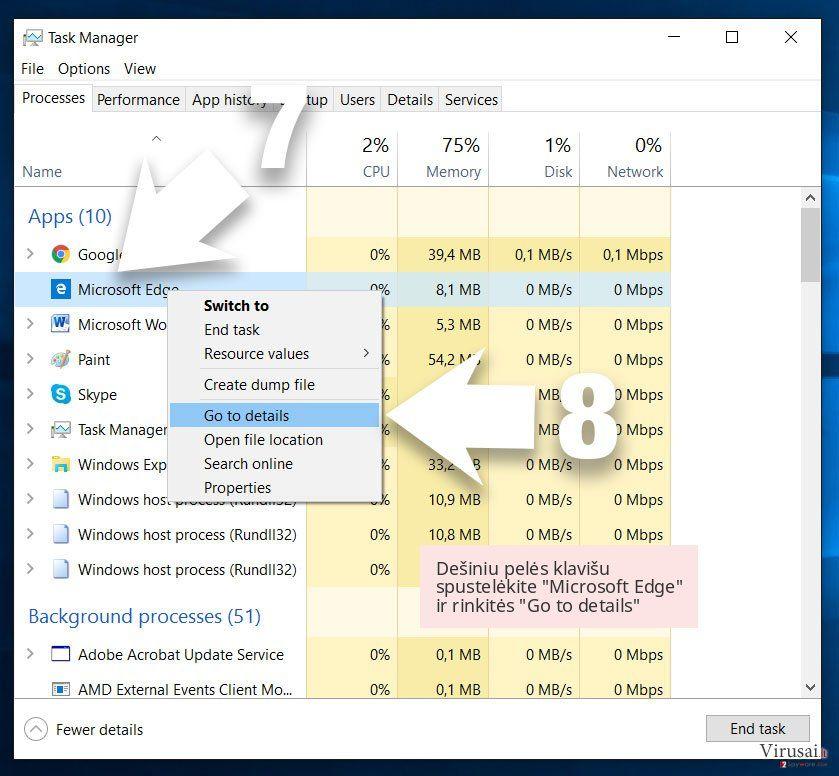 Dešiniu pelės klavišu spustelėkite 'Microsoft Edge' ir rinkitės 'Go to details'