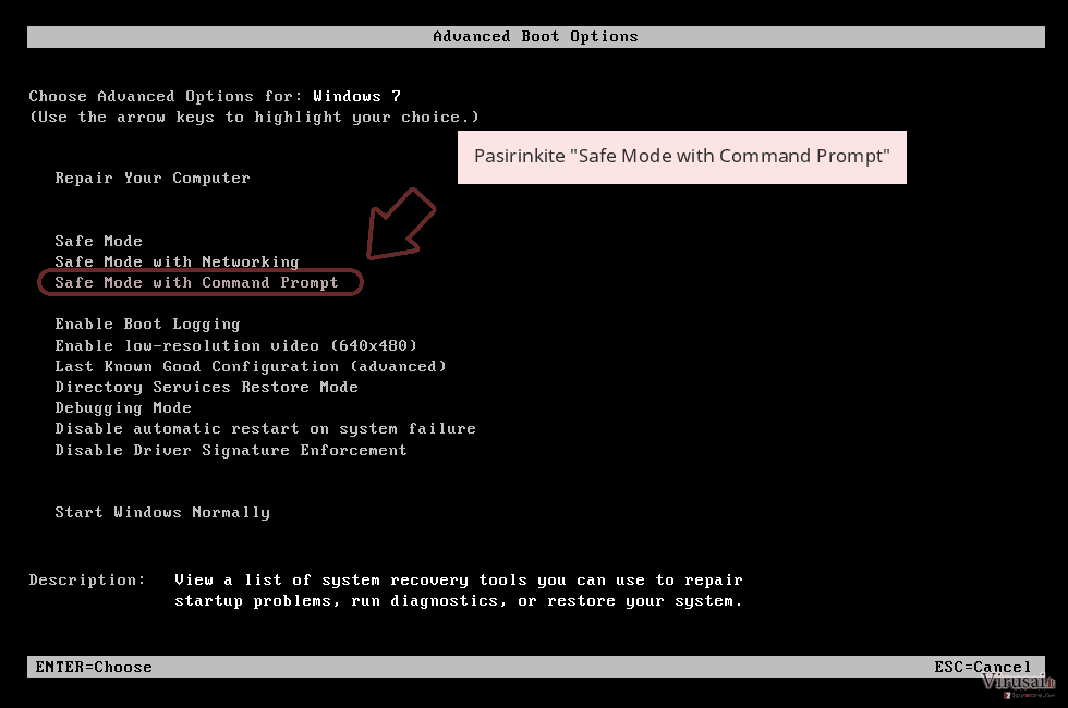 Pasirinkite 'Safe Mode with Command Prompt'