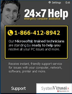 24×7 Help ekrano nuotrauka