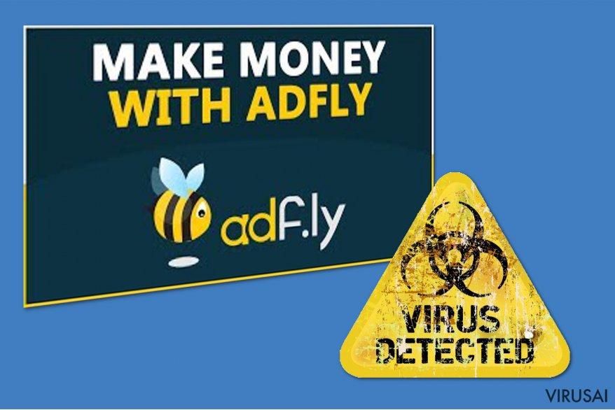 Adf.ly virusas ekrano nuotrauka