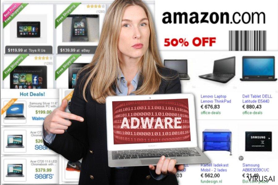 """""""NewTab"""" reklaminių programų pavyzdžiai"""