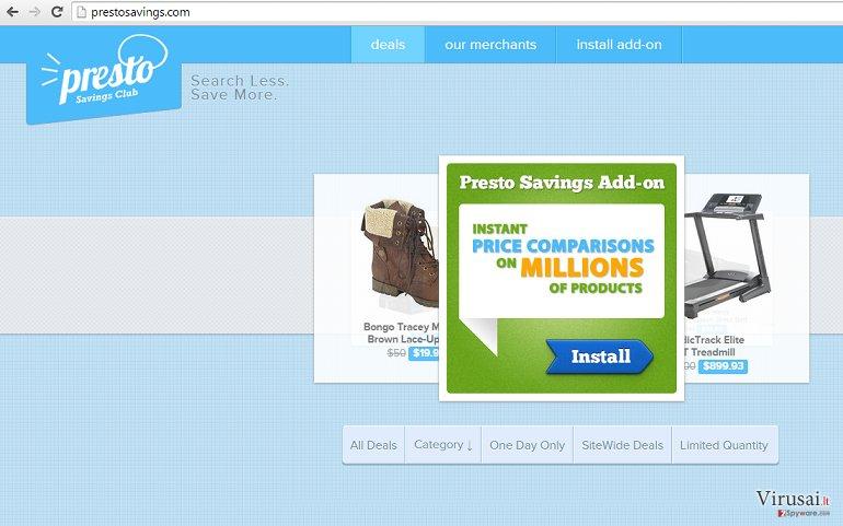 PrestoSavings reklamos ekrano nuotrauka