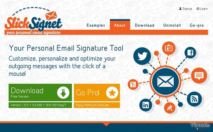 SlickSignet reklamos ekrano nuotrauka