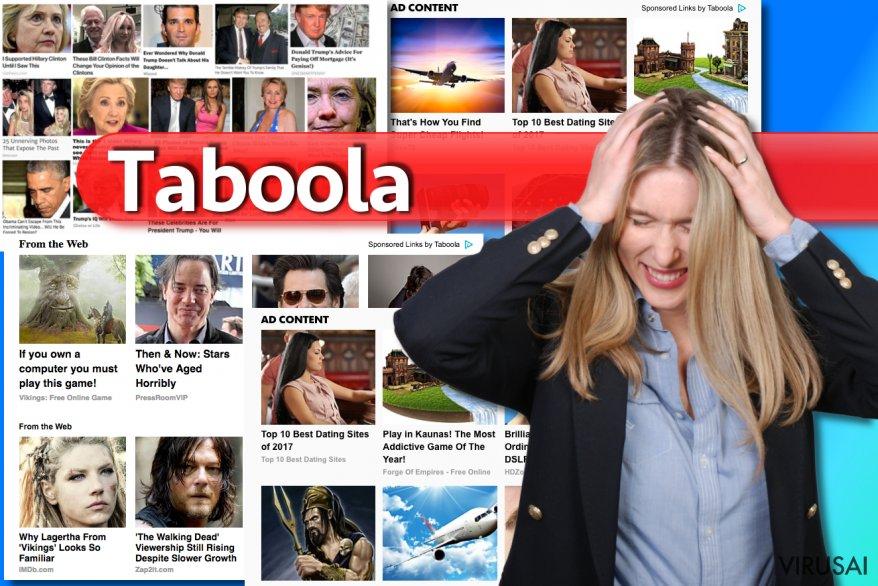Taboola reklamos ekrano nuotrauka