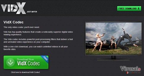 Vidx reklamos ekrano nuotrauka