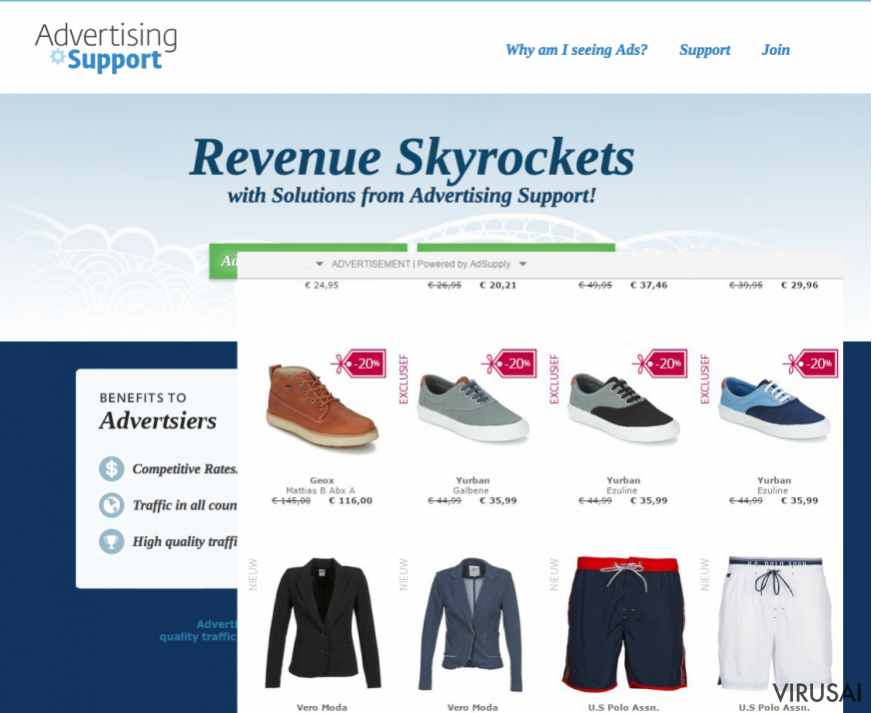 AdSupply reklamos pavyzdys