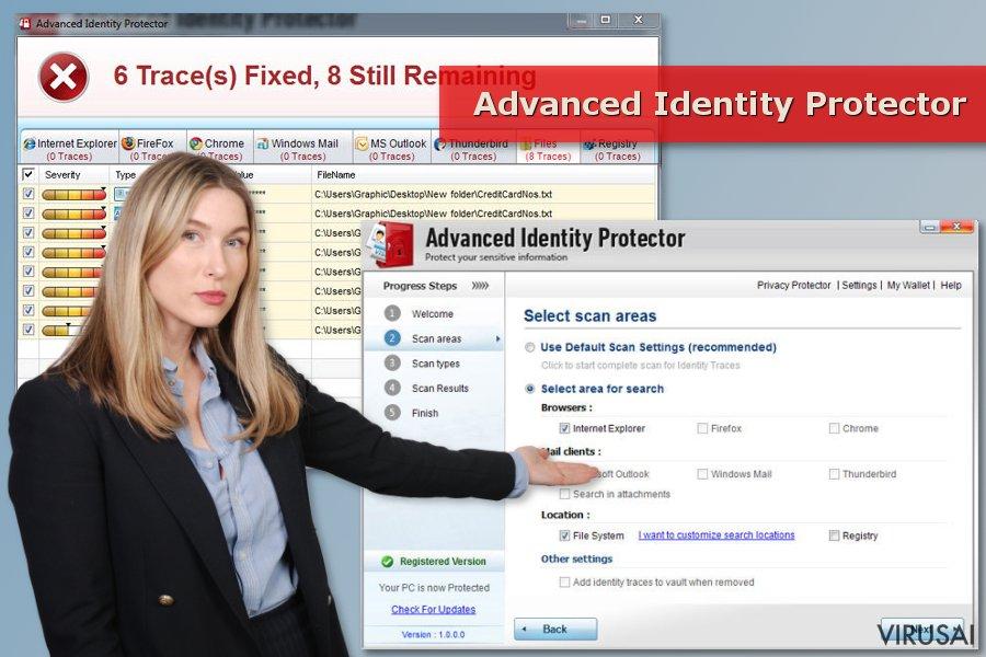 Advanced Identity Protector virusas ir jo skenavimo rezultatai