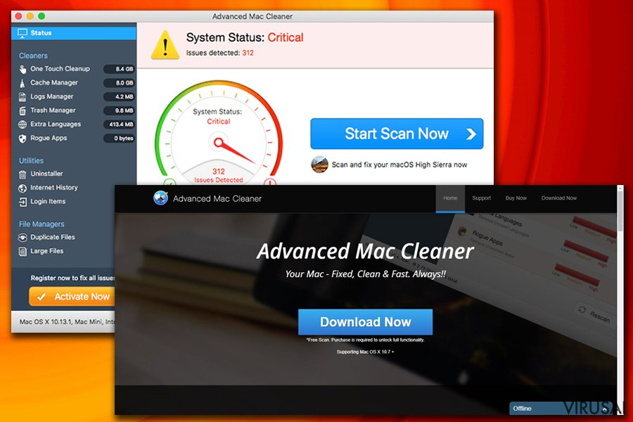 Advanced Mac Cleaner virusas ekrano nuotrauka