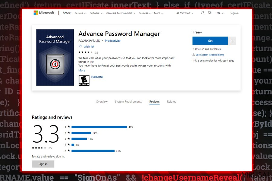 Advanced Password Manager įrankis