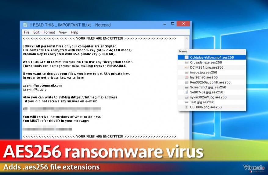 Aes256 virusas užkoduoja kompiuteryje esančius failus