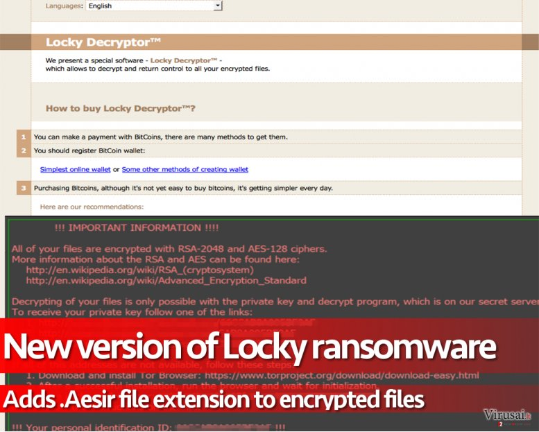 .Aesir failo plėtinio virusas užkoduoja failus ir reikalauja išpirkos