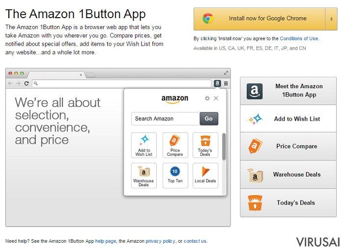 Amazon 1Button virusas pateikia itin daug erzinančių reklamų.