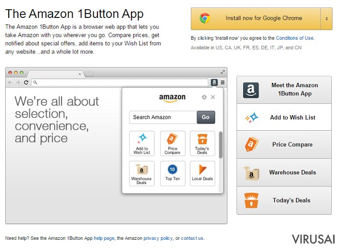 Amazon 1Button virusas ekrano nuotrauka