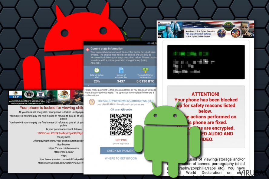 Android viruso iliustracija