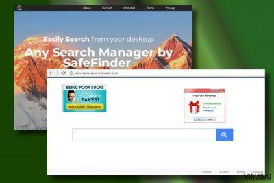 Any Search Manager užgrobtos naršyklės pavyzdys