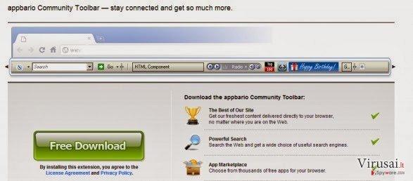 Appbario įrankių juosta ekrano nuotrauka
