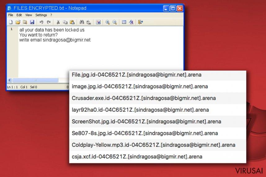 Arena virusas ir FILES ENCRYPTED.txt raštelis