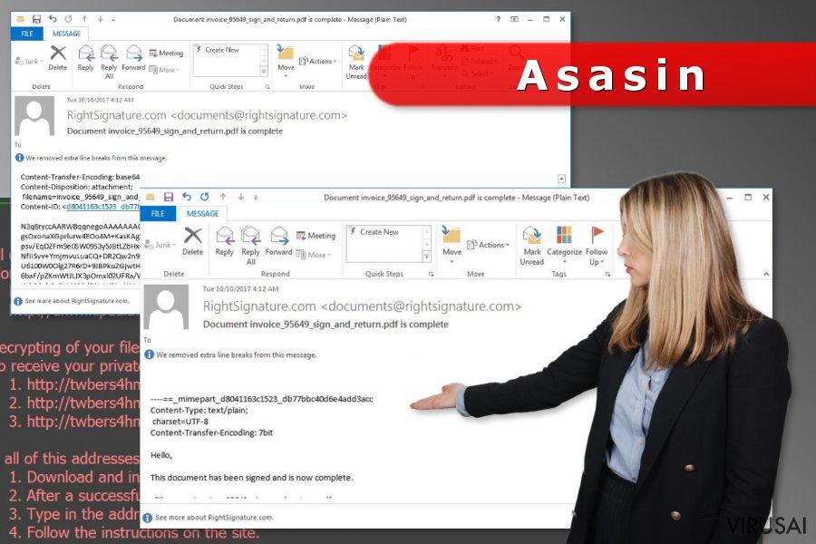 """""""Asasin"""" užkratą platinantis el. laiškas"""