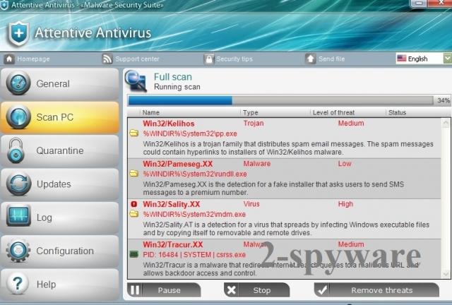 Attentive Antivirus ekrano nuotrauka