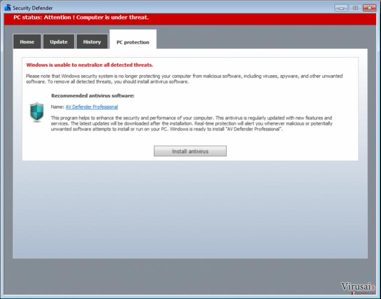 AV Defender Professional ekrano nuotrauka
