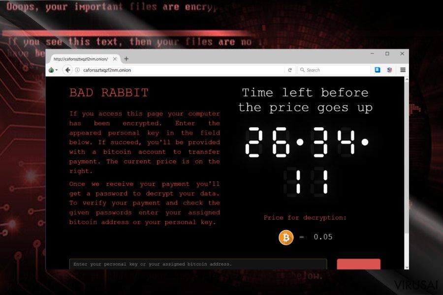 Bad Rabbit viruso svetainė