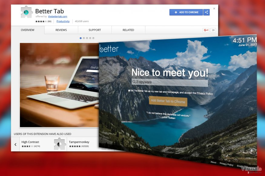 """Better Tab""  viruso pavyzdys"