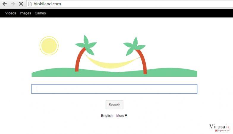Binkiland.com virusas ekrano nuotrauka