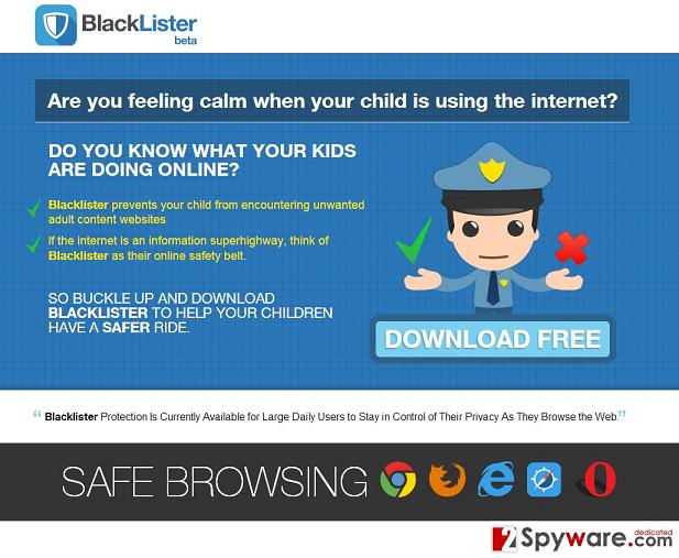 BlackLister reklamos ekrano nuotrauka