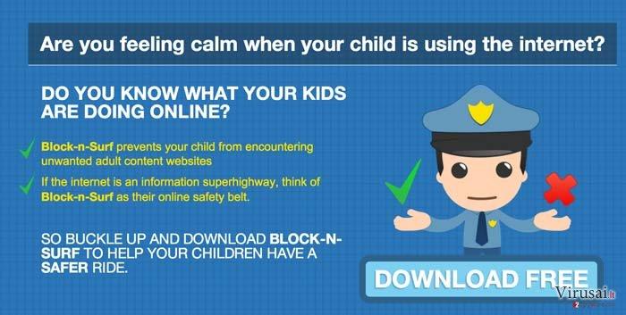 BlockNSurf reklamos ekrano nuotrauka
