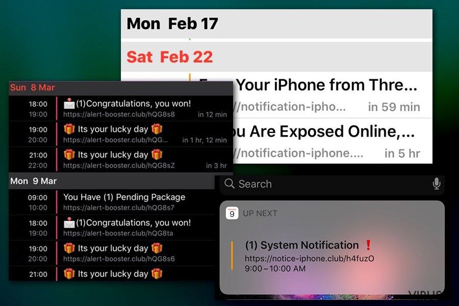 Kalendoriaus viruso pranešimai