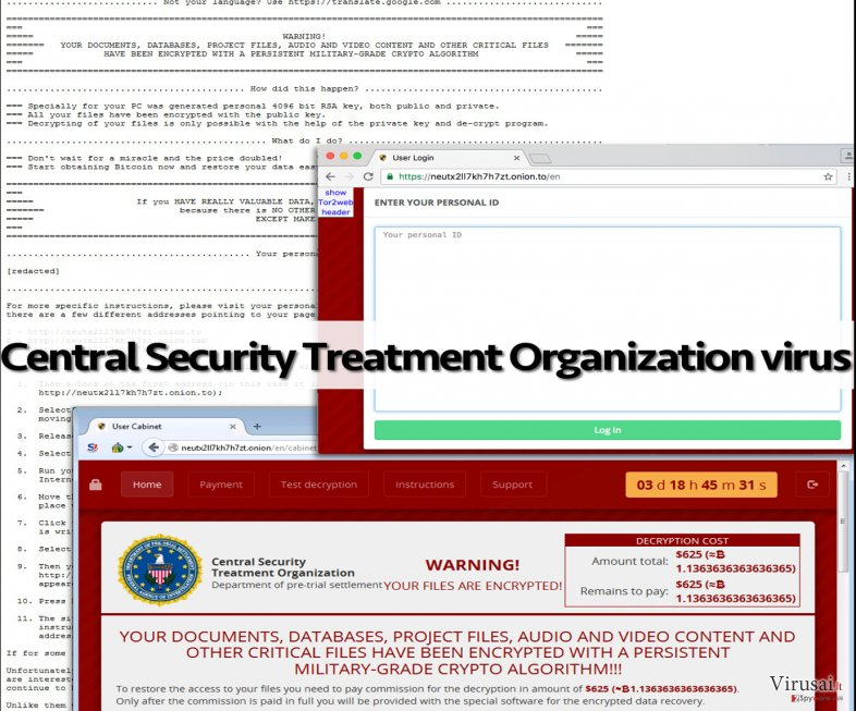 Central Security Treatment Organization viruso pavyzdys