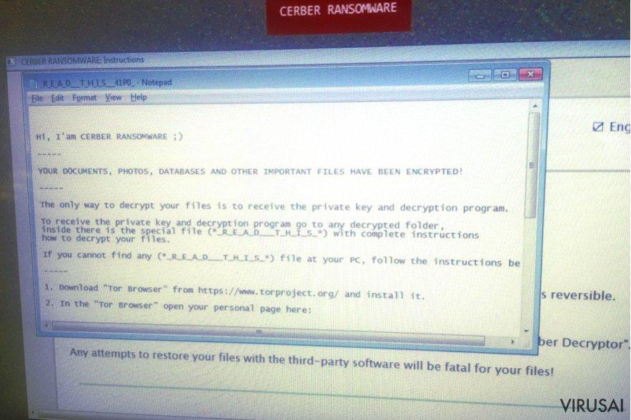 Cerber virusas ekrano nuotrauka
